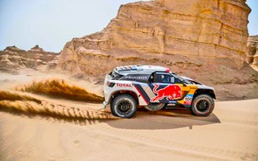 Picture Sand, Sport, Speed, Race, Peugeot, Lights, Red Bull, Rally, Rally, Sport, DKR, 3008, Silk road, ...