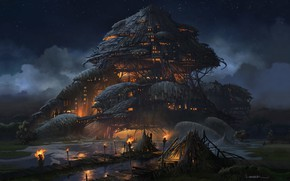Wallpaper fantasy, Marsh Fortress, aaron limonick, art
