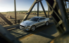 Picture sunset, bridge, Mustang, Ford, Mustang, Ford
