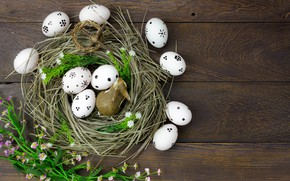 Wallpaper flowers, eggs, spring, Easter, hay, wood, flowers, spring, Easter, eggs, decoration, Happy