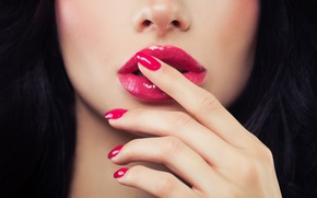 Picture woman, lips, fingers