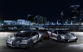 Wallpaper Porsche, Silver, Chiron, Bugatti, 918, Spyder, City, Lights, VAG