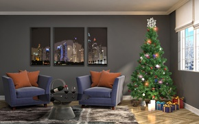 Wallpaper design, chairs, decoration, tree, New Year, holiday, gifts, interior, garland