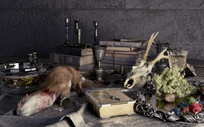 Picture carcass, Fin-de-siecle hunting gallery, table, wall, glass