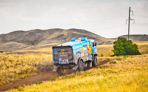 Picture The sky, Nature, Grass, Sport, Speed, Stones, Race, Master, Dirt, Hills, Squirt, Beauty, Russia, Kamaz, …