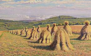 Picture field, landscape, picture, hay, Gustave Cariot, Stack, Gustave Cairo