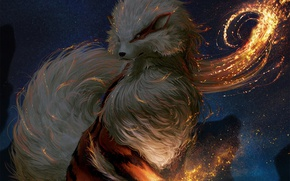 Picture fire, flame, game, fox, anime, animal, Pokemon, japanese, spark
