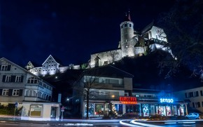 Picture night, lights, Austria, Church, Rankweil