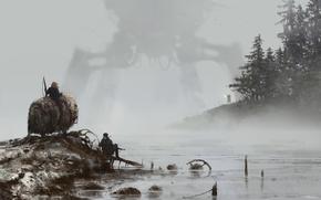 Picture gun, game, weapon, machine, lake, fog, man, Scythe, bison, peasants