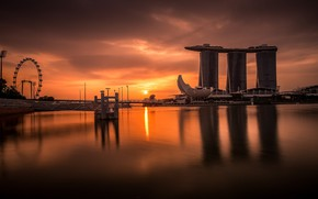 Wallpaper Night, landscape, Skyscrapers, Singapore, Sea, The city