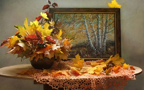 Wallpaper autumn, leaves, branches, berries, picture, vase, maple, table, napkin