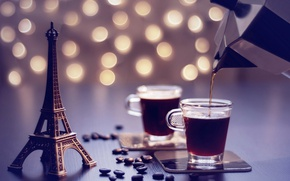 Picture dream, coffee, grain, Eiffel tower, coffee pot