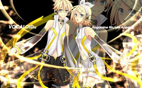 Picture lights, anime, art, two, Vocaloid, Vocaloid, Kagamine Len, Kagamine Rin