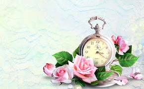 Picture flowers, background, watch, roses