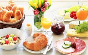 Wallpaper flowers, food, bouquet, Breakfast, cheese, juice, grapes, tulips, vase, wood, jam, croissants, muesli, meats
