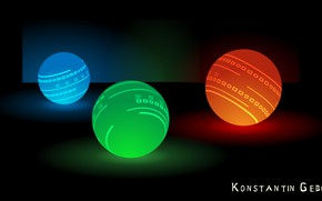Picture orange, blue, red, green, reflection, background, blue, balls, Wallpaper, ball, hot, cold, color, beautiful Wallpaper, …