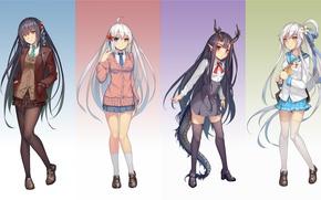 Picture background, girls, skirt, stockings, tail, horns, tights, school uniform, anime, art, weiyinji xsk