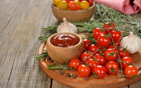 Picture food, vegetables, tomatoes, spices, garlic, cherry, rosemary, tomato, ketchup