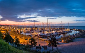 Wallpaper sunset, clouds, horizon, the sky, the evening, yachts, lights, Bay, Grömitz, shore, Germany