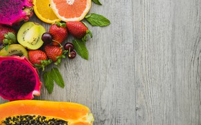 Picture leaves, berries, orange, kiwi, strawberry, citrus, mint, the grapefruit