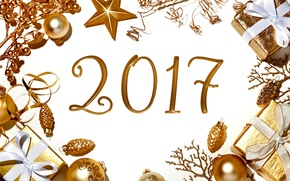 Picture New Year, Christmas, golden, new year, happy, balls, merry christmas, decoration, 2017