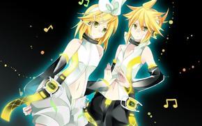 Picture background, two, Vocaloid, Vocaloid, ringtones, Kagamine Len, Kagamine Rin