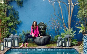 Picture jeans, pool, makeup, garden, hairstyle, shoes, blouse, brown hair, beauty, Nina Dobrev, Nina Dobrev, sitting, …
