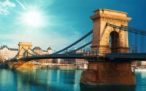 Wallpaper Budapest, my planet, Széchenyi chain bridge, view, travel, bokeh, blur, wallpaper., the Danube river, suspension ...