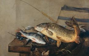 Picture oil, picture, canvas, Still life with Fish, Pieter van Noort, Peter van Noort