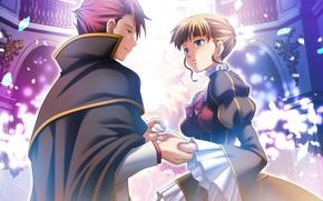 Picture girl, romance, anime, ring, art, guy, Umineko no Naku Koro ni