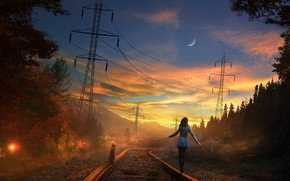 Picture road, forest, the sky, cat, girl, sunset, the moon, rails, the evening, art, railroad