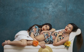 Picture flowers, girls, mood