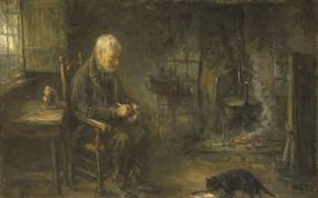 Picture cat, oil, picture, Joseph Israels, Peasant Interior