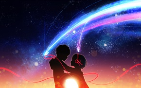 Picture romance, anime, art, two, Kamet, Kimi no VA On, Your name, Kimi No VA On
