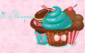 Picture background, March 8, cakes, cupcakes