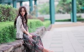 Picture summer, face, hair, dress, Asian, beauty
