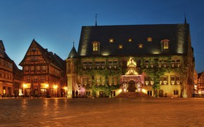 Picture lights, home, the evening, Germany, area, Town hall, Quedlinburg