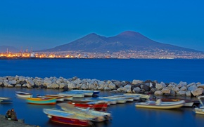 Picture lights, mountain, Italy, Bay, Naples, Vesuvius, Campaign
