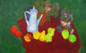 Picture kettle, Still life, 2005, green background, The petyaev