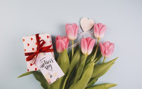 Picture gift, bouquet, tulips, heart, postcard