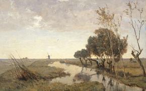 Picture landscape, stream, picture, Paul Joseph Constantine Gabriel, Watercourse Near Abcoude