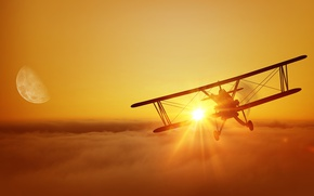 Picture WWI, single, maneuverable, the sun, the sky, the moon, silhouette, flight, wallpaper., biplane, the first ...