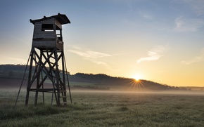 Picture field, fog, morning, tower