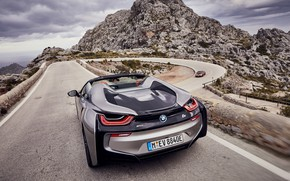 Picture road, the sky, clouds, mountains, grey, vegetation, the descent, turn, BMW, Roadster, rear view, hybrid, …