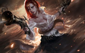 Picture guns, girl, fantasy, game, cleavage, sea, pirate, octopus, breast, water, redhead, League of Legends, weapons, …
