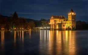Picture the sky, trees, mountains, night, lights, river, castle, shore, Austria, lights, Anif Castle