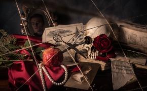 Picture skull, portrait, necklace, rope, book, still life, scissors, garnet