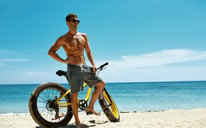 Picture sand, sea, beach, the sky, the sun, clouds, bike, pose, shorts, figure, horizon, glasses, guy, …