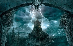 Wallpaper old house, mystic, mountains, lightning, crows, Gothic