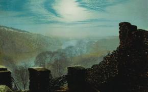 Picture clouds, picture, John Atkinson Grimshaw, John Atkinson Grimshaw, Full Moon. Castle Park Roundhay